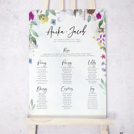 'Flower Press' Large Wedding Table Plan