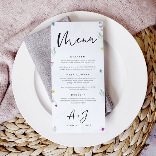 Flower Press Wedding Menu Cards