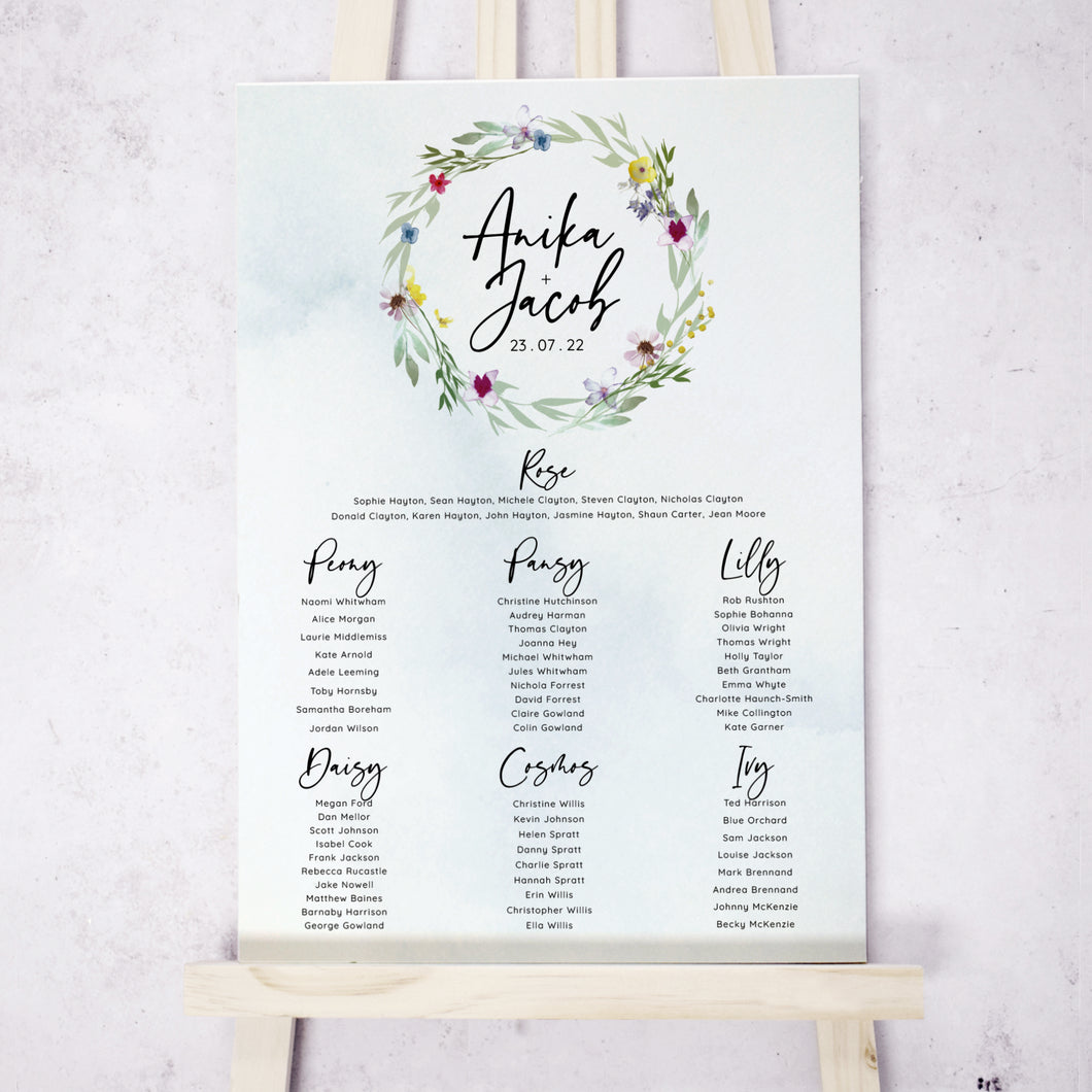 Flower Press Wreath Table Plan