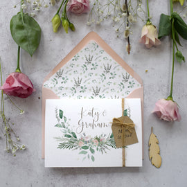 'Foliage Blush' concertina wedding invitations