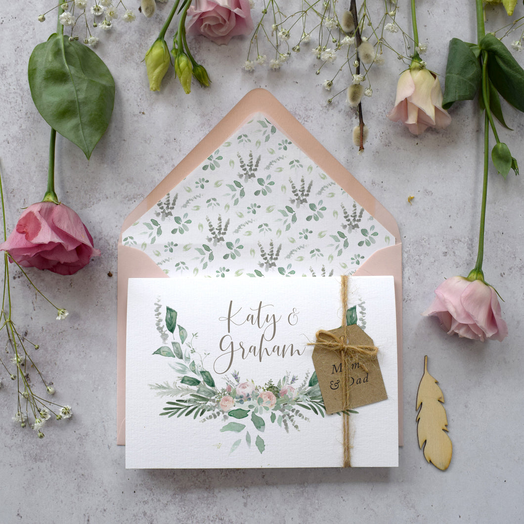 Foliage Blush Concertina Invitation