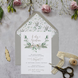 'Foliage Blush' wedding evening reception invitations