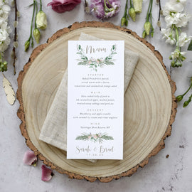 'Foliage Blush' Personalised Wedding Menu Cards