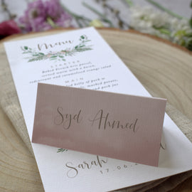 blush pink wedding place cards