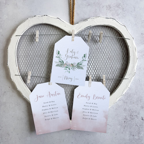 Foliage Blush Table Plan Cards