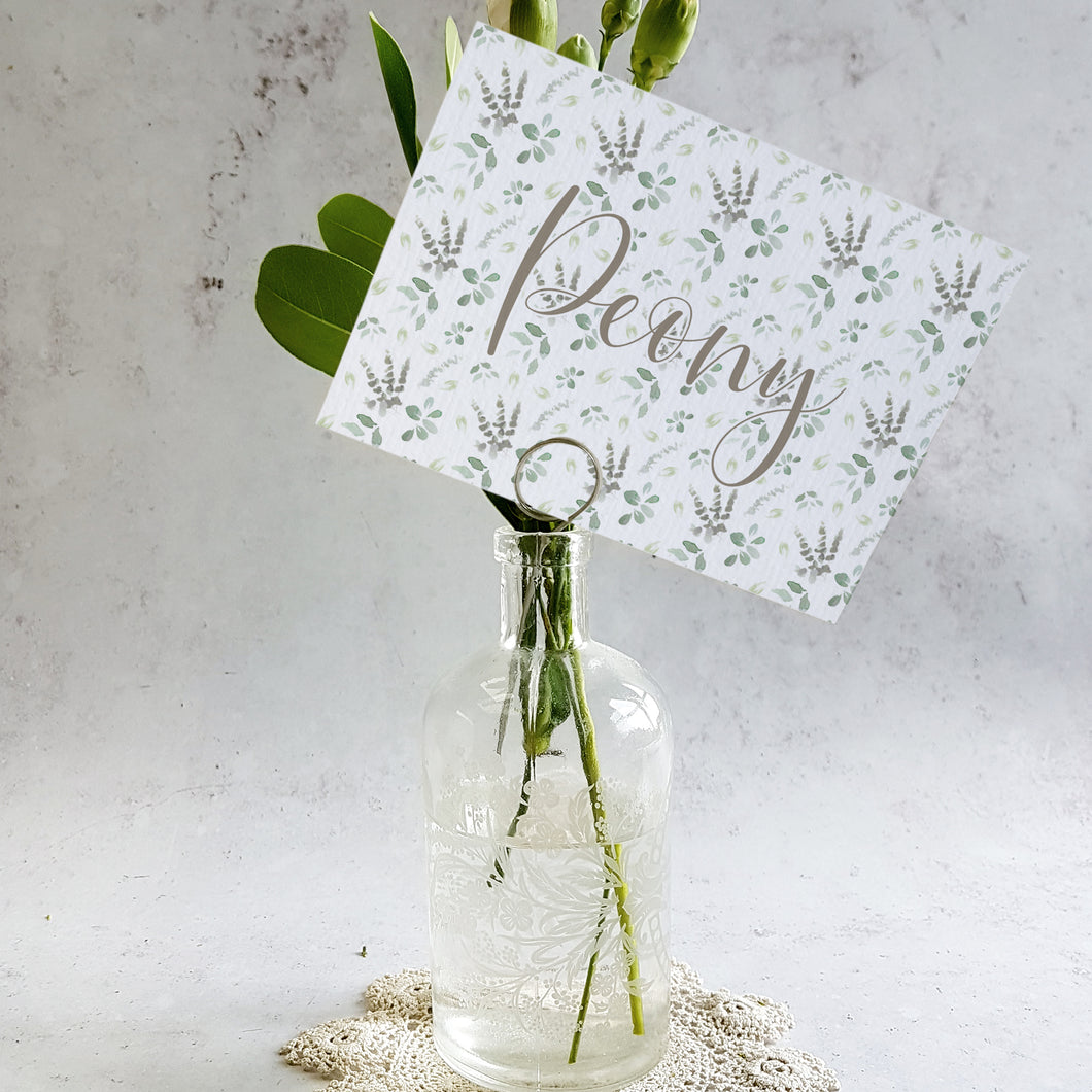 Foliage Blush Table Name Cards