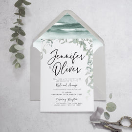 'Greenery' wedding invite & grey envelope