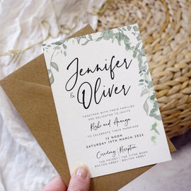 'Greenery' wedding postponement cards featuring eucalyptus and modern typography