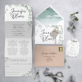 'Greenery' 4 fold concertina wedding invite suite