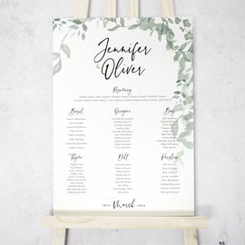 'Greenery' large format foliage wedding table plan