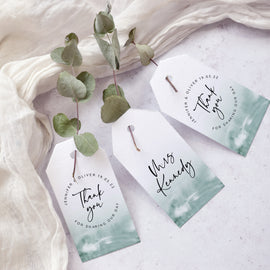 'Greener' modern watercolour wedding favour tags