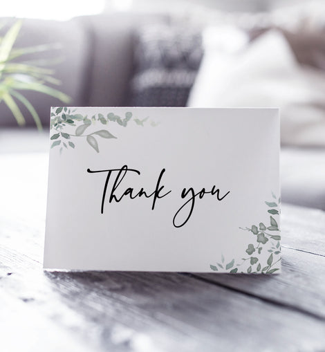 Personalised Photo Greenery Wedding Thank You Cards