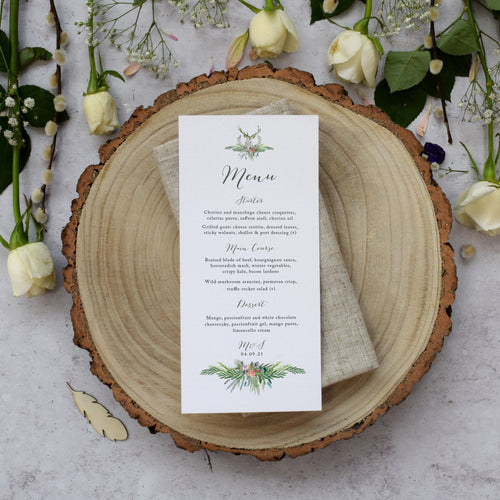 'Highland Summer' personalised wedding menu cards