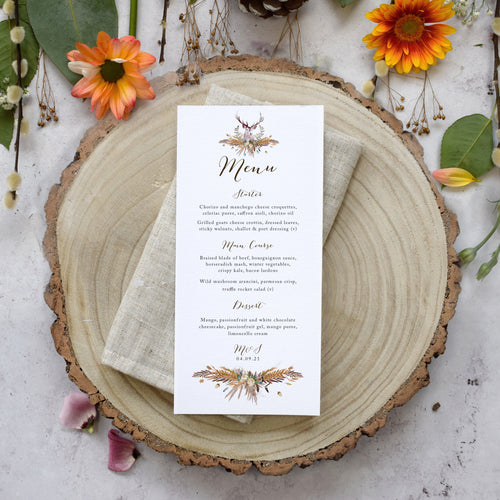 'Highland Autumn' personalised wedding menu cards