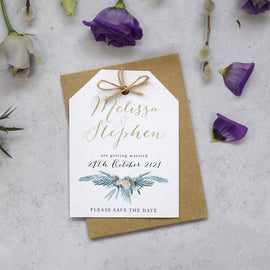 'Highland Winter' wedding save the date cards
