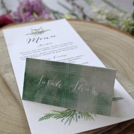 Green tartan wedding place cards