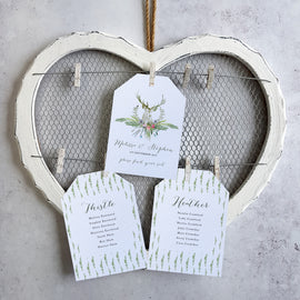 'Highland Summrer' wedding seating plan cards