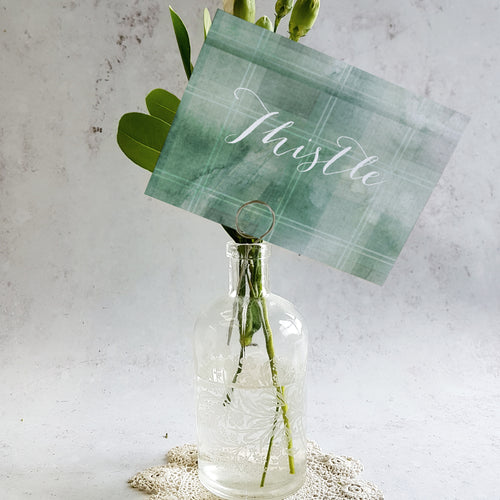Green tartan wedding table name cards