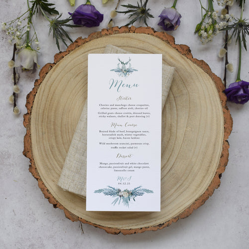 'Highland Winter' personalised wedding menu cards