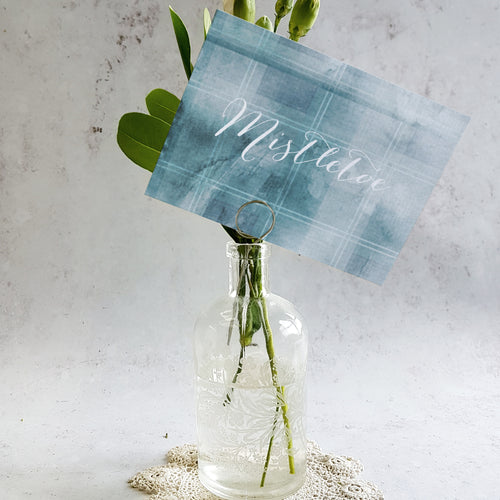 Blue tartan wedding table name cards