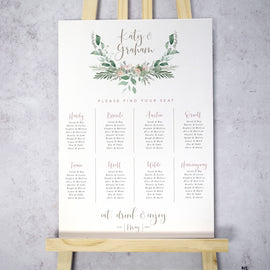'Foliage Blush' Large Wedding Table Plan