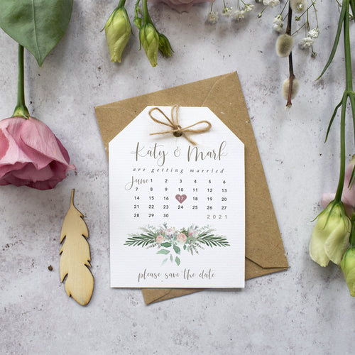 Foliage Blush Save the Dates