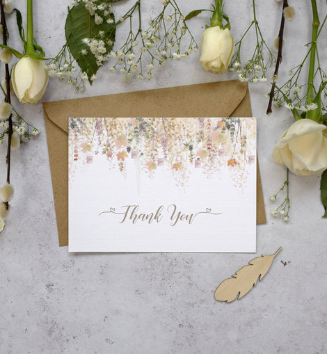 'Whimsical Autumn' Wedding thank you postcards