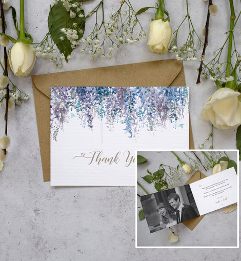 winter wedding photo thank you cards