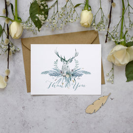 'Highland Winter' winter wedding thank you cards