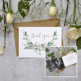 Personalised Photo Foliage Blush Thank You Cards