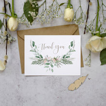 Load image into Gallery viewer, 'Foliage Blush' wedding thank you postcards