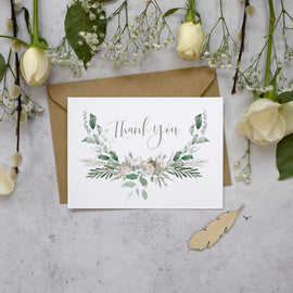 'Foliage Blush' wedding thank you postcards