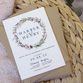 'Whisper Wreath' Evening Wedding Invites