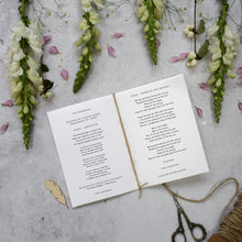 Load image into Gallery viewer, 'Confetti' personalised Order of Service for spring weddings