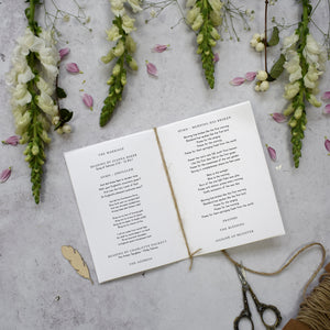 'Confetti' personalised Order of Service for spring weddings