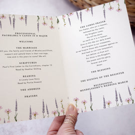 "Wedding Order of Ceremony from our ""whisper' wedding stationery collection"