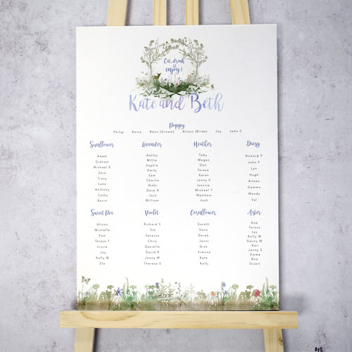 'Wildflower' Woodland Wedding Table Plan