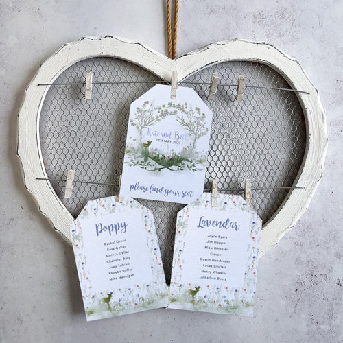 'Wildflower' Rustic woodland wedding seating plan cards