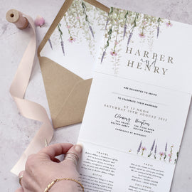 'Whisper' boho wedding invitations