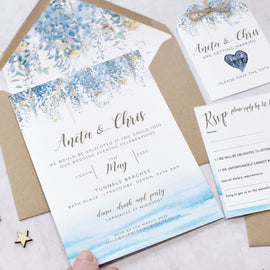 'Whimsical Coast' wedding invite for destination weddings