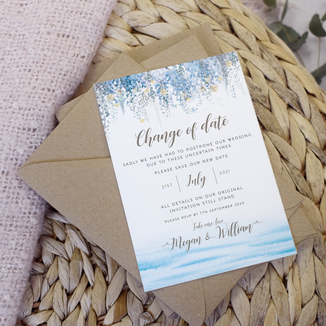 'Whimsical Coast' wedding change the date cards