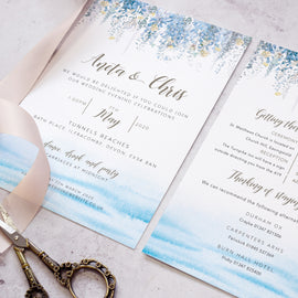 wedding information cards for a beach wedding