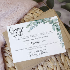 'Eucalyptus' Wedding Change the date cards