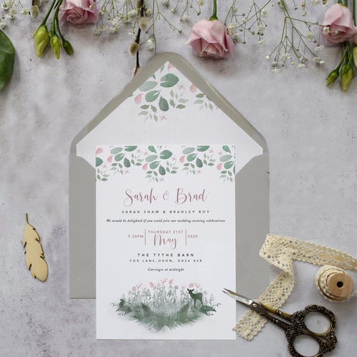 'Fairytale Blossom' wedding evening reception invite