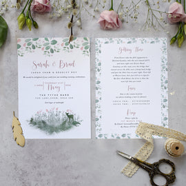 'Fairytale Blossom' wedding details card for woodland weddings