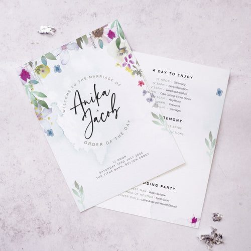 'Flower Press' Order of the Day Cards / wedding program