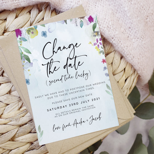 'Flower Press' Wedding Change the Date cards