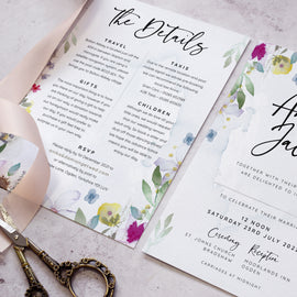 """Flower Press' wedding details card"