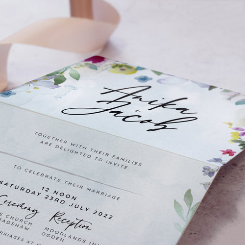 'Flower Press' Concertina wedding invites
