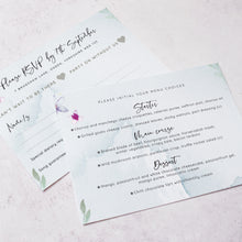 Load image into Gallery viewer, RSVP card featuring menu choices from our 'Flower Press Wreath' collection